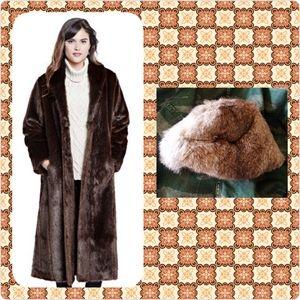 Vintage Rabbit Fur Coat w/ Hat